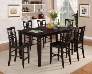7-PC Dinette Counter Height Table with 6 Wood Seat Chairs in Cappuccino. SKU: LG7-CAP-W
