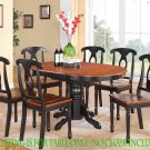 "Kenley Dinette Kitchen Dining Table 42""x60"" in Black & Saddle Brown. SKU: KT-BLK-T"