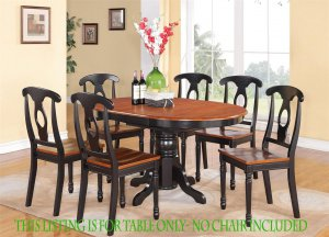 Kenley Dinette Kitchen Dining Table 42�x60� in Black & Saddle Brown. SKU: KT-BLK-T
