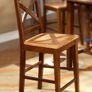 "Set of 4 Napoli counter height chairs with plain wood seat in espresso, 24"" seat height"