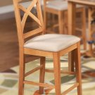 "Set of 6 Napoli counter height chairs with plain wood seat in light oak, 24"" seat height"