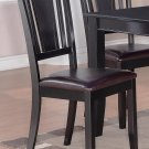 Set of 4 Dudley dinette dining chairs with FAUX LEATHER seat in BLACK, SKU: DU-LC-BLK