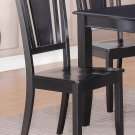 Set of 6 Dudley dinette dining chairs with plain wood seat in BLACK, SKU: DU-WC-BLK