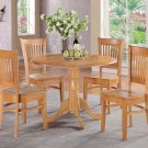 "5PC  dinette kitchen set, table 42"" round and 4 wood seat chairs in Oak. SKU: DV5-OAK-W"