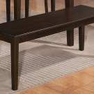 "One Capri Dinette Kitchen Dining Bench L52 x W16 x H18"", Wood Seat In Cappuccino, SKU: EWBEN-CAP-W"