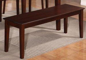 "One Capri Dinette Kitchen Dining Bench L52 x W16 x H18"", Wood Seat In Mahogany, SKU: EWBEN-MAH-W"