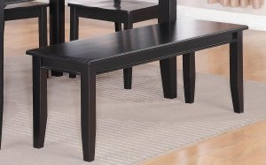 "Dudley Dinette Kitchen Dining Bench in Black L52"" x D16"" x H18"". SKU: DU-WB-BLK"