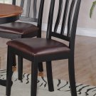 SET OF 2 ANTIQUE DINETTE DINING CHAIRS WITH LEATHER SEAT IN BLACK FINISH, SKU: AC-BLK-LC2
