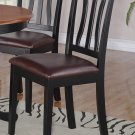SET OF 4 ANTIQUE DINETTE DINING CHAIRS WITH LEATHER SEAT IN BLACK FINISH, SKU: AC-BLK-LC4