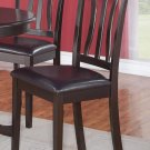 SET OF 2 DINETTE DINING CHAIRS WITH LEATHER SEAT IN CAPPUCCINO FINISH, SKU: AC-CAP-LC2