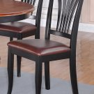 SET OF 2 AVON DINETTE DINING CHAIR WITH LEATHER SEAT IN BLACK FINISH, SKU: AV-BLK-LC2