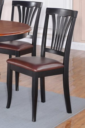 SET OF 4 AVON DINETTE DINING CHAIR WITH LEATHER SEAT IN BLACK FINISH, SKU: AV-BLK-LC4