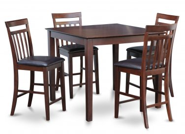 5pc East West Square Counter Height Table w/4 Leather seat chairs in Mahogany. SKU:EW5-MAH-LC