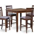 5pc East West Square Counter Height Table w/4 Microfiber chairs in Mahogany. SKU:EW5-OAK-C
