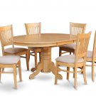 5PC OVAL DINETTE KITCHEN DINING SET TABLE w/4 PADDED CHAIRS IN OAK FINISH, SKU: AVA5-OAK-C