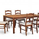 7PC Set Rectangular Dining Table & 6 Cushion Chairs in Espresso & Cinnamon . SKU: H7-BRN-C