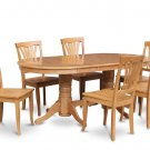 7-PC Dinette Dining Set, Oval Table w/6 Plain Wood Seat in Oak finish, SKU: VAV7-OAK-W