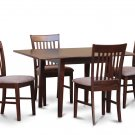 5-PC- Norfolk Rectangular dinette kitchen table with 4 padded chairs in Mahogany. SKU: NO5-MAH-C