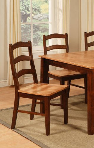 Set of 6 Henley kitchen dining chairs with wood seat in Espresso &amp; Cinamon finish