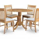 5PC dinette kitchen set, 42&quot; round table drop leaf + 4 cushion seat chairs, oak. SKU: DNO5-OAK-C
