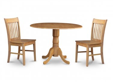 "3PC dinette kitchen set, 42"" round table drop leaf + 2 wood seat chairs in oak. SKU: DNO3-OAK-W"
