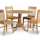5PC dinette kitchen set, 42&quot; round table drop leaf + 4 wood seat chairs in oak. SKU: DNO5-OAK-W