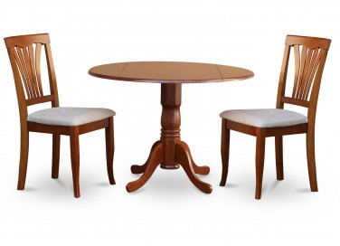 "3PC Dublin 42"" round table w/ drop leaf + 2 Avon padded chairs, saddle brown. SKU: DAV3-SBR-C"