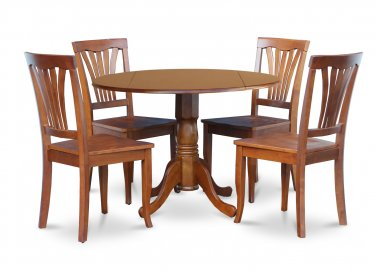 "5PC Dublin 42"" round table w/ drop leaf + 4 Avon wood seat chairs, saddle brown. SKU: DAV5-SBR-W"
