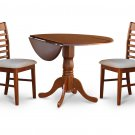 3PC Dublin 42&quot; round table w/ drop leaf + 2 Milan cushioned chairs, saddle brown. SKU: DM3-SBR-C
