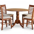 "5PC Dublin 42"" round table w/ drop leaf + 4 Milan cushioned chairs in saddle brown. SKU: DM5-SBR-C"