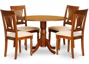 "5-PC Dublin 42"" round table, drop leaf +4 Plainville cushion chairs, saddle brown. SKU: DPL5-SBR-C"