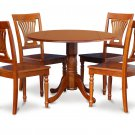 5-PC Dublin 42&quot; round table, drop leaf +4 Plainville wooden chairs, saddle brown. SKU: DPL5-SBR-C