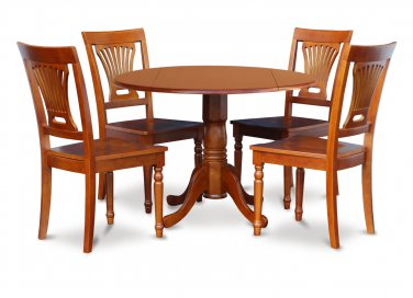 "5-PC Dublin 42"" round table, drop leaf +4 Plainville wooden chairs, saddle brown. SKU: DPL5-SBR-C"