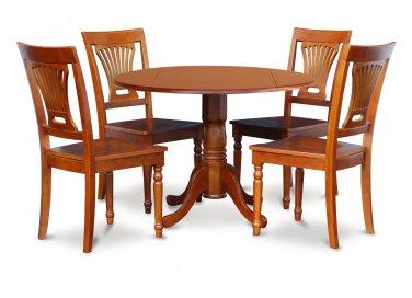 "3-PC Dublin 42"" round table, drop leaf +2 Plainville wooden chairs, saddle brown. SKU: DPL3-SBR-C"
