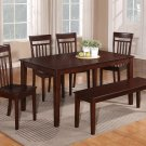 7PC CAPRI DINETTE DINING TABLE WITH 6 WOOD SEAT CHAIRS IN MAHOGANY (NO BENCH) SKU C7S-MAH-W
