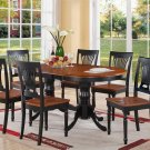 7-PC Plainville Oval Dining Table w/4 Wood Seat Chairs Black & Cherry Brown. SKU: PLV7-BLK-W