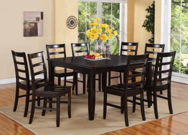 "7PC Square Dining Set, Table 54x54x30"" with 6 Wood Seat Chairs in Cappuccino. SKU: FL7-CAP-W"