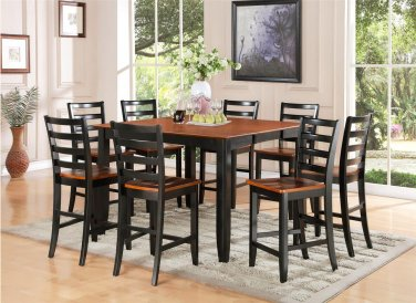 7-PC Parfait Counter Height Table w/6 Wooden Seat Chairs in Black & Cherry Brown. SKU: PFH7-BLK-W