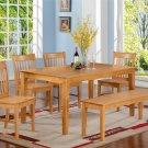 5PC RECTANGULAR DINETTE DINING SET TABLE & 4 WOOD SEAT CHAIRS LIGHT OAK (NO BENCH). ECANO5-OAK-W