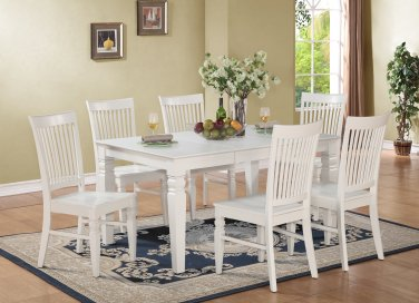 7-PC Set Rectangular Dinette Dining Table with 6 Wood Seat Chairs in Linen White. SKU: WT7-WHI-W