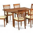 7PC Set Milan Rectangular Dinette Table 36x54 w/ 6 cushion chairs in saddle brown SKU: MILA7-SBR-C