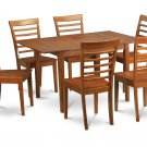"7-PC Rectangular Dinette Dining Table 36x54"" w/ 6 wood seat chairs in saddle brown, SKU: MILA7-SBR-W"