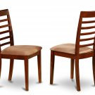 Set of 2 Milan Ladder slat back dining chairs with microfiber upholstered seat in Mahogany finish.