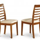 Set of 2 Milan Ladder slat back chairs with microfiber upholstered seat in Saddle Brown finish.