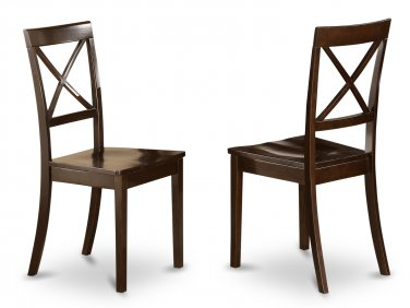 Set of 2 Boston dining room chairs with wood seat in Cappuccino finish.