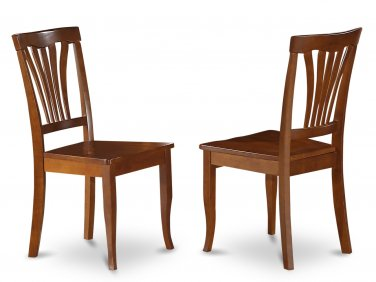 Set of 2 Avon dining room chairs with wood seat in Saddle Brown finish.