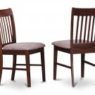 Set of 2 Norfolk kitchen dining chairs w/ microfiber upholstered seat in Mahogany, SKU# NFC-MAH-C