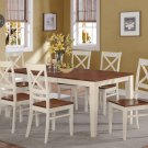 9-PC SET DINETTE DINING TABLE 40x78 WITH 8 WOOD SEAT CHAIRS BUTTERMILK & CHERRY, SKU: QUIN9-WHI-W