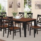 9-PC SET DINETTE DINING TABLE 40x78 WITH 8 WOOD SEAT CHAIRS BLACK & CHERRY, SKU: QUIN9-BLK-W