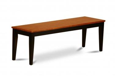 Nicoli Kitchen Dining Bench L54xW15xH18 with Wood Seat In Black & Charry, SKU: NIB-BLK-W